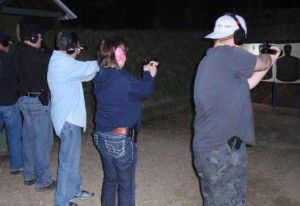students at gun range